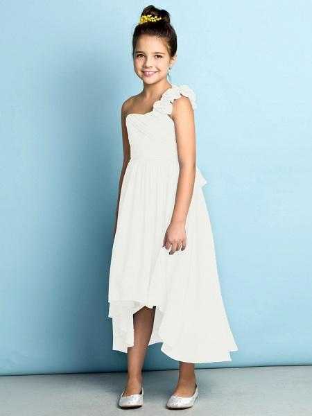 A-Line One Shoulder Asymmetrical Chiffon Junior Bridesmaid Dress With Criss Cross / Flower / Natural / Mini Me_23