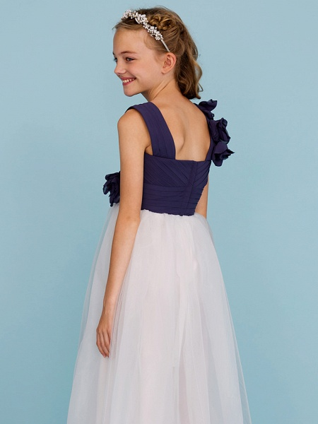 Princess / A-Line Straps Floor Length Chiffon / Tulle Junior Bridesmaid Dress With Criss Cross / Ruched / Flower / Color Block / Floral / Wedding Party_6