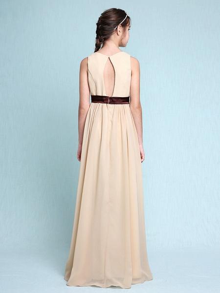 Sheath / Column Scoop Neck Floor Length Chiffon Junior Bridesmaid Dress With Draping / Natural_2