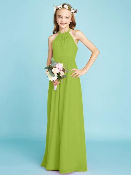 A-Line Halter Neck Floor Length Chiffon Junior Bridesmaid Dress With Sash / Ribbon / Natural_29