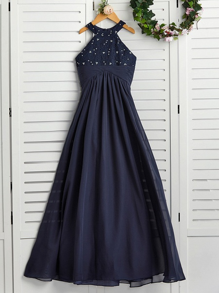 A-Line Jewel Neck Maxi Chiffon Junior Bridesmaid Dress With Pearls / Wedding Party_1