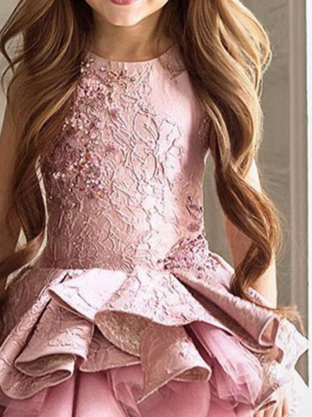 Ball Gown Asymmetrical Pageant Flower Girl Dresses - Polyester Sleeveless Jewel Neck With Cascading Ruffles_2