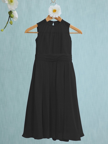 Sheath / Column Jewel Neck Knee Length Chiffon Junior Bridesmaid Dress With Ruched / Natural_37