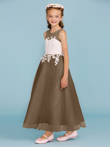 Princess / A-Line Jewel Neck Ankle Length Lace / Tulle Junior Bridesmaid Dress With Sash / Ribbon / Appliques / Wedding Party / Open Back_35