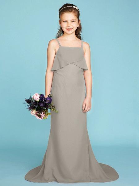 Sheath / Column Spaghetti Strap Sweep / Brush Train Chiffon Junior Bridesmaid Dress With Tiered / Wedding Party / Open Back_10