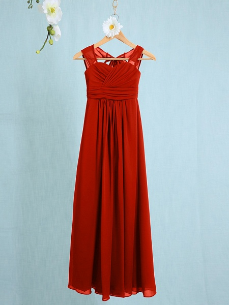 Sheath / Column Straps Ankle Length Chiffon Junior Bridesmaid Dress With Ruched / Natural_11
