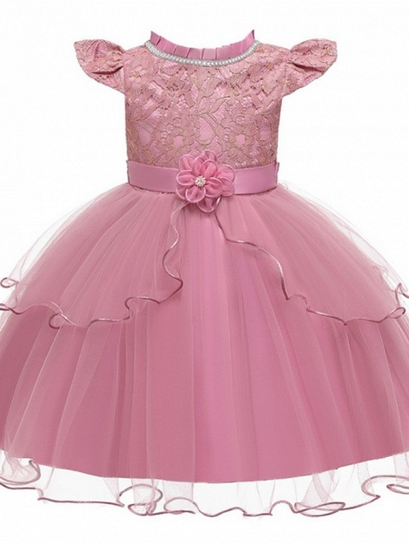 Princess / Ball Gown Knee Length Wedding / Party Flower Girl Dresses - Tulle Cap Sleeve Jewel Neck With Sash / Ribbon / Embroidery / Flower_6