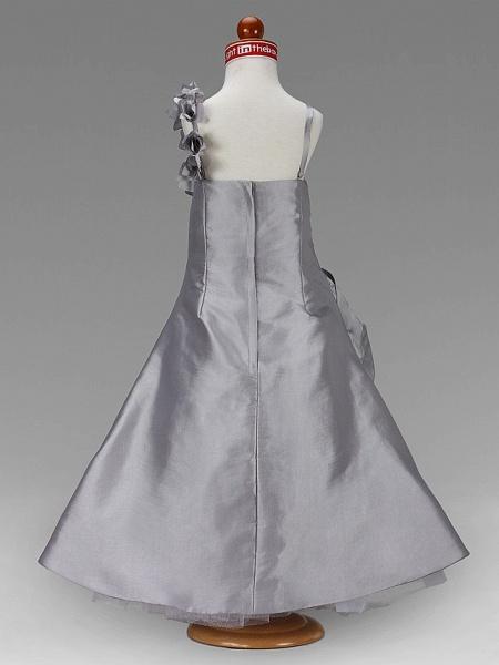 Princess / A-Line Floor Length Wedding Party Taffeta Sleeveless Spaghetti Strap With Pick Up Skirt / Side Draping / Flower / Spring / Summer / Fall / Winter_7