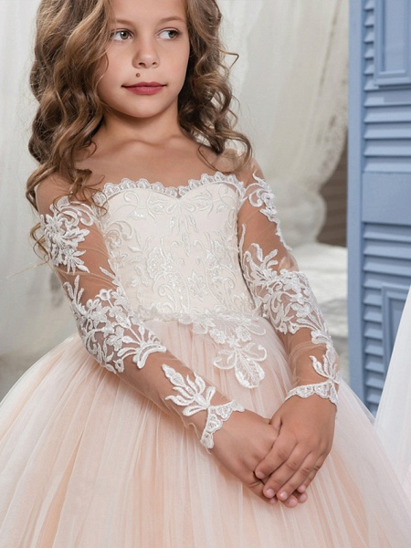 Ball Gown Sweep / Brush Train Wedding / Birthday / Pageant Flower Girl Dresses - Lace / Tulle Long Sleeve Off Shoulder With Lace / Embroidery / Appliques_2