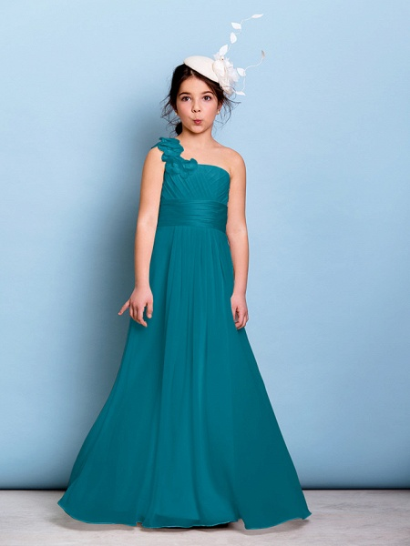 A-Line One Shoulder Floor Length Chiffon Junior Bridesmaid Dress With Sash / Ribbon / Criss Cross / Ruched / Natural_26