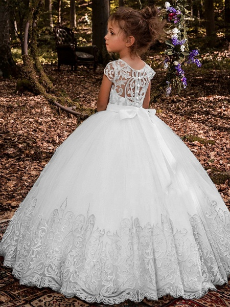 Ball Gown Sweep / Brush Train Wedding / Birthday / Pageant Flower Girl Dresses - Lace / Tulle / Cotton Short Sleeve Jewel Neck With Lace / Belt / Embroidery_4