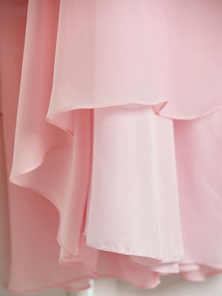 A-Line High Neck Floor Length Chiffon Junior Bridesmaid Dress With Ruffles / Ruching_9