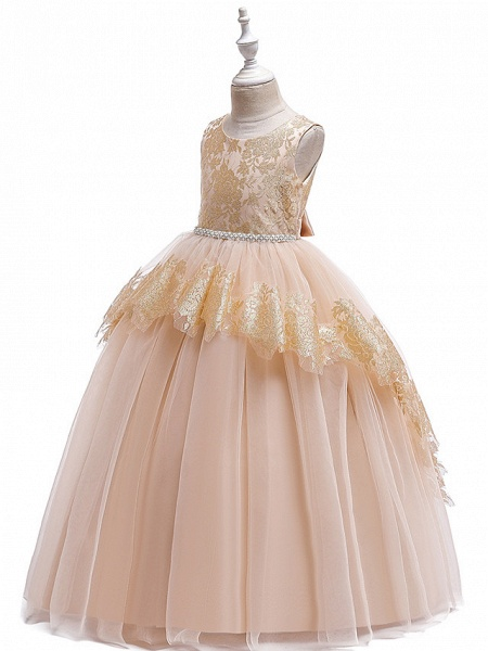 Princess Floor Length Wedding / Party / Pageant Flower Girl Dresses - Lace / Satin / Tulle Sleeveless Jewel Neck With Belt / Crystals / Beading_3