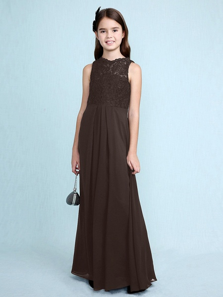 Sheath / Column Scoop Neck Floor Length Chiffon / Lace Junior Bridesmaid Dress With Lace / Natural_27