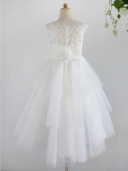 Ball Gown Asymmetrical Wedding / First Communion / Birthday Flower Girl Dresses - Lace / Tulle Sleeveless Jewel Neck With Beading_2