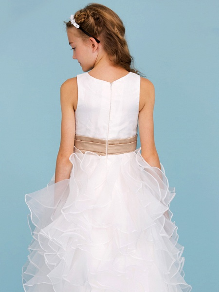 Princess / A-Line Jewel Neck Ankle Length Organza / Satin Junior Bridesmaid Dress With Sash / Ribbon / Cascading Ruffles / Wedding Party_7
