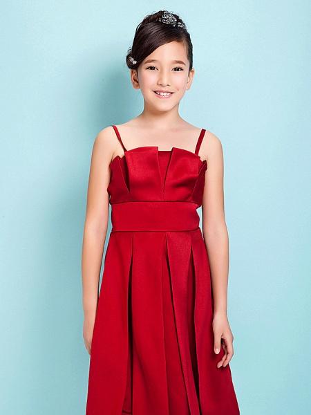 Princess / A-Line Spaghetti Strap Knee Length Satin Junior Bridesmaid Dress With Sash / Ribbon / Draping / Spring / Summer / Fall / Hourglass / Inverted Triangle_5