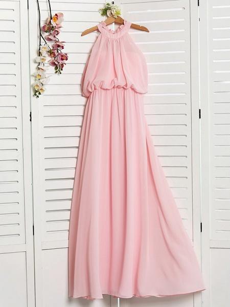 A-Line High Neck Floor Length Chiffon Junior Bridesmaid Dress With Ruffles / Ruching_3