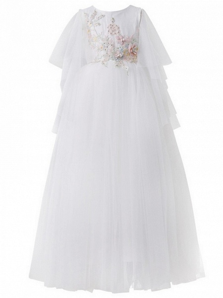 A-Line Floor Length Pageant Flower Girl Dresses - Tulle Short Sleeve Jewel Neck With Beading / Appliques / Crystals / Rhinestones_3