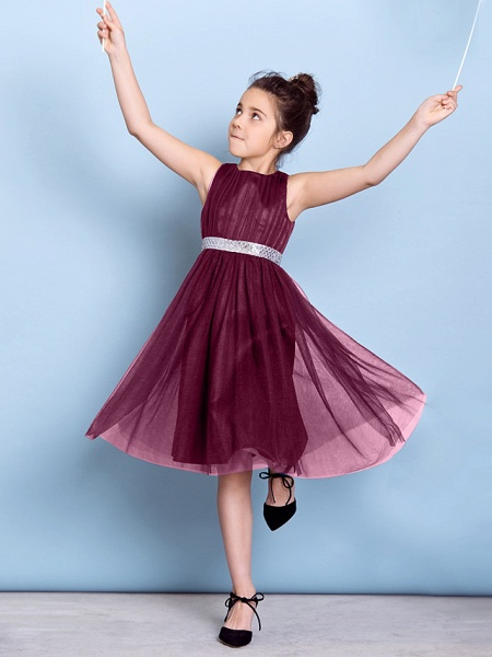 A-Line Jewel Neck Knee Length Tulle Junior Bridesmaid Dress With Sash / Ribbon / Sequin / Draping / Natural_10