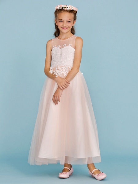 Princess / A-Line Jewel Neck Ankle Length Lace / Tulle Junior Bridesmaid Dress With Sash / Ribbon / Appliques / Wedding Party / Open Back_3