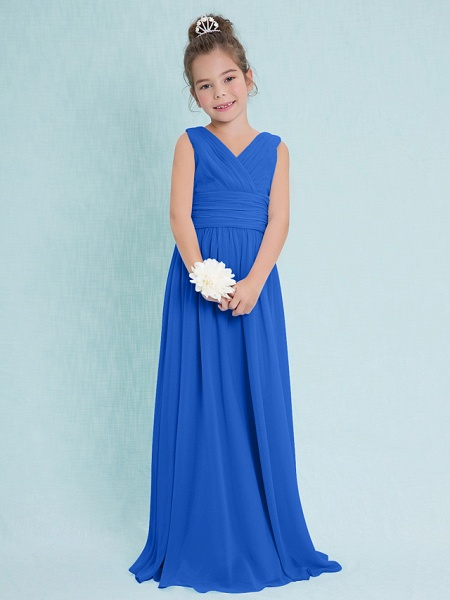 Sheath / Column V Neck Floor Length Chiffon Junior Bridesmaid Dress With Criss Cross / Ruched / Natural_32
