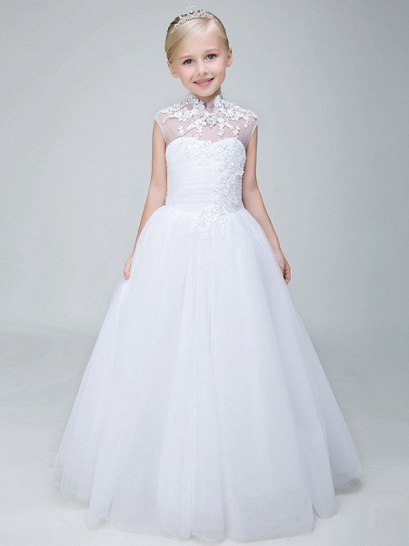 Ball Gown Ankle Length Wedding / First Communion Flower Girl Dresses - Tulle Sleeveless High Neck With Beading / Appliques_3