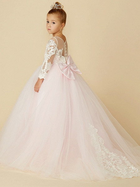 Ball Gown Court Train Wedding / Party / Pageant Flower Girl Dresses - Lace / Tulle Long Sleeve Illusion Neck With Bows / Bow(S) / Buttons_4