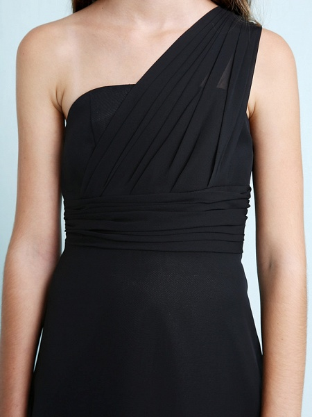 Sheath / Column One Shoulder Floor Length Chiffon Junior Bridesmaid Dress With Side Draping / Natural_8