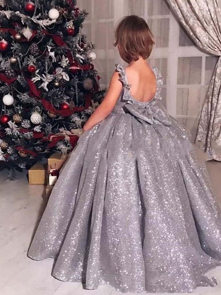 Princess / Ball Gown Sweep / Brush Train Wedding / Party Flower Girl Dresses - Lace / Organza Sleeveless Jewel Neck With Bow(S) / Ruffles / Paillette_2