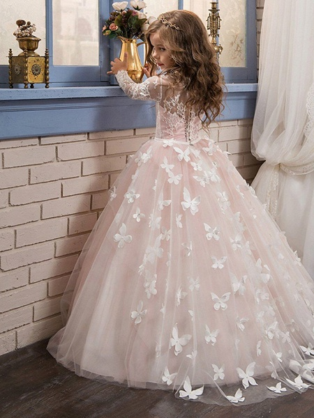 Ball Gown Sweep / Brush Train Party / First Communion / Birthday Flower Girl Dresses - Lace Long Sleeve Jewel Neck With Bow(S) / Appliques_2