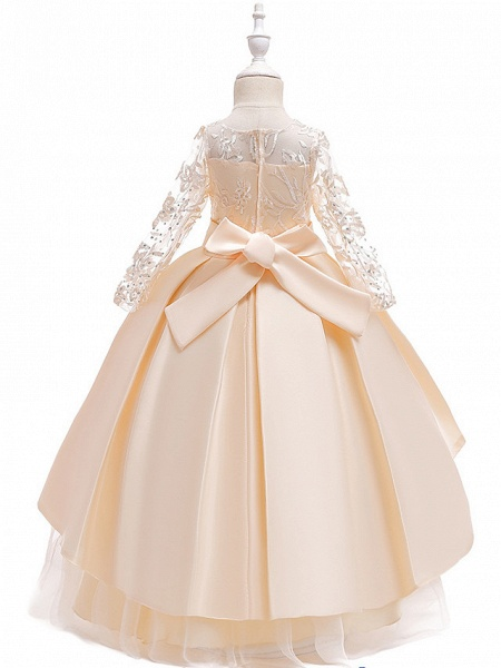 Ball Gown / A-Line Maxi Wedding / Formal Evening / Pageant Flower Girl Dresses - Cotton Blend / Lace 3/4 Length Sleeve Jewel Neck With Lace / Sash / Ribbon / Pleats_8