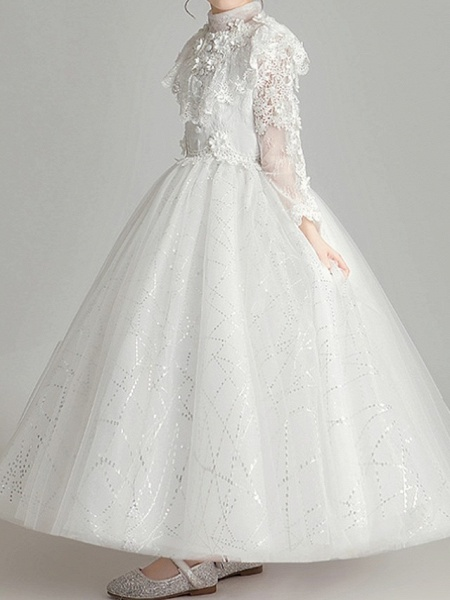 Ball Gown Ankle Length First Communion Flower Girl Dresses - Polyester Long Sleeve High Neck With Appliques_3