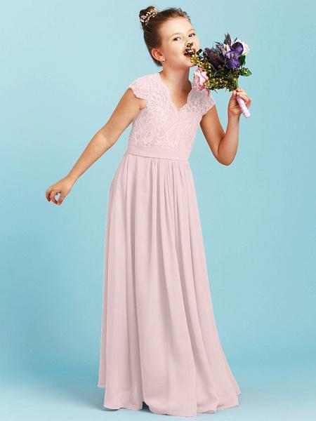 Princess / A-Line V Neck Floor Length Chiffon / Lace Junior Bridesmaid Dress With Sash / Ribbon / Pleats / Wedding Party_18