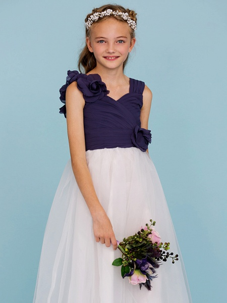 Princess / A-Line Straps Floor Length Chiffon / Tulle Junior Bridesmaid Dress With Criss Cross / Ruched / Flower / Color Block / Floral / Wedding Party_5