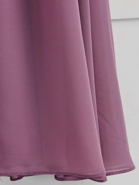 A-Line Crew Neck Floor Length Chiffon Junior Bridesmaid Dress With Ruching / Wedding Party_8