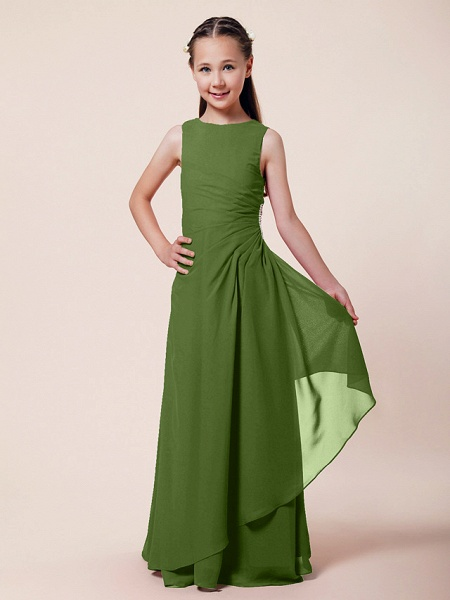 A-Line / Sheath / Column Bateau Neck Floor Length Chiffon Junior Bridesmaid Dress With Beading / Side Draping / Spring / Summer / Fall / Winter / Wedding Party_36
