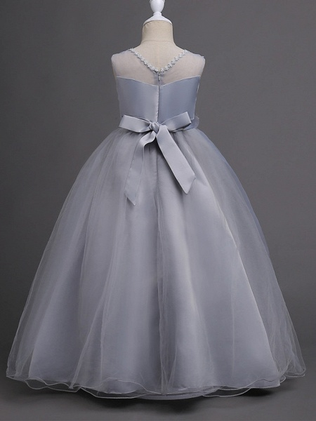 Princess Long Length Wedding / First Communion Satin / Tulle Sleeveless Jewel Neck With Belt / Appliques_10