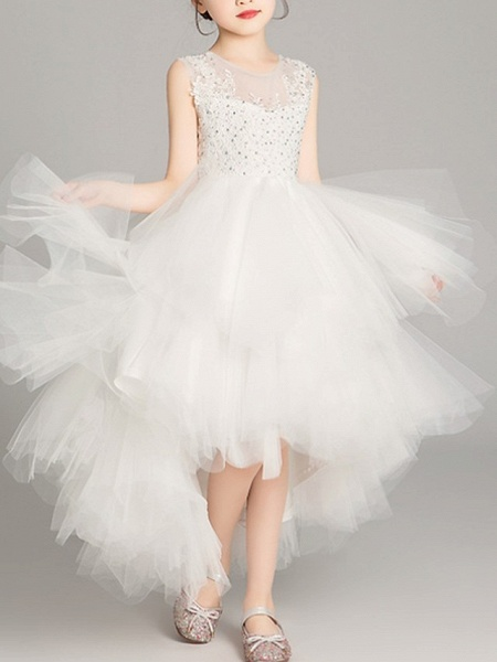 A-Line Asymmetrical Pageant Flower Girl Dresses - Tulle Sleeveless Jewel Neck With Tier / Appliques / Crystals / Rhinestones_3