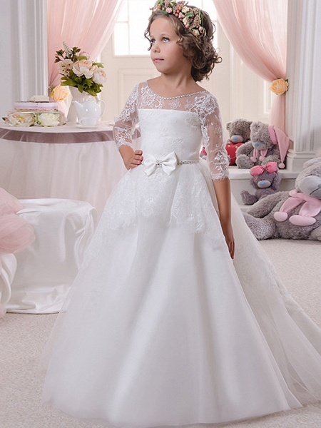 Ball Gown Sweep / Brush Train Wedding / Birthday / First Communion Flower Girl Dresses - Lace / Tulle / Cotton 3/4 Length Sleeve Scoop Neck With Lace / Embroidery / Crystals / Rhinestones_1