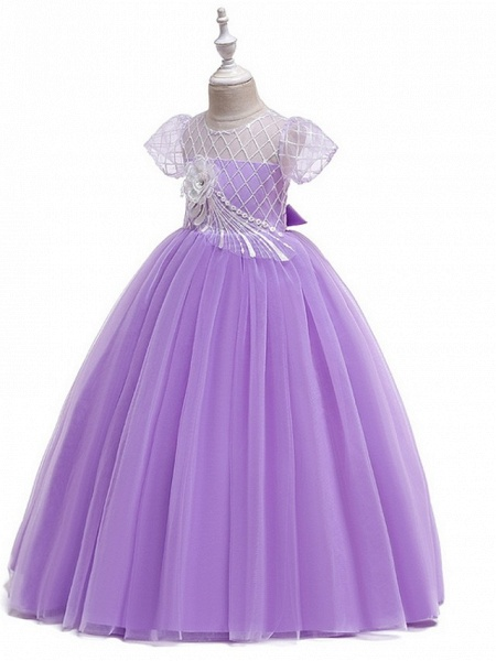 Ball Gown Round Floor Length Cotton Junior Bridesmaid Dress With Bow(S) / Appliques_5