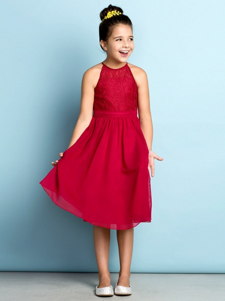A-Line Jewel Neck Knee Length Chiffon / Lace Junior Bridesmaid Dress With Lace / Natural / Mini Me_3