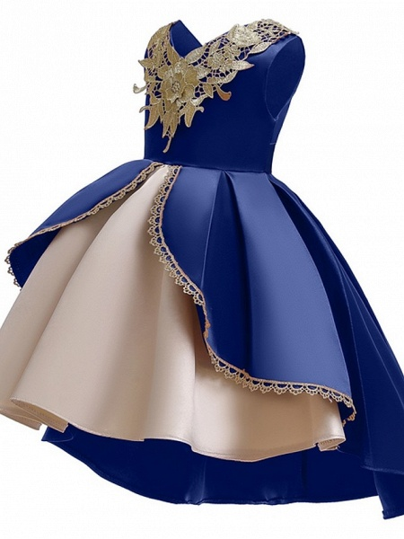 Ball Gown Ankle Length Pageant Flower Girl Dresses - Polyester Sleeveless V Neck With Appliques_5