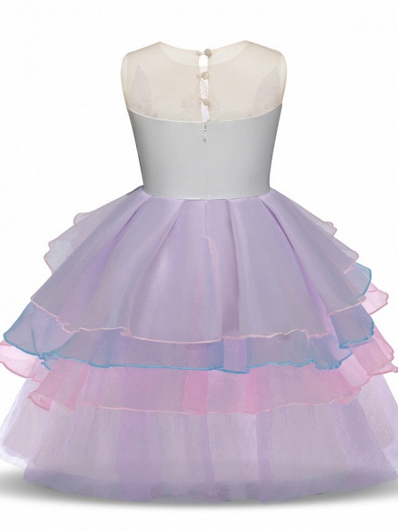Princess Midi Party / Birthday Satin / Tulle Sleeveless Jewel Neck With Tier / Embroidery / Appliques_4