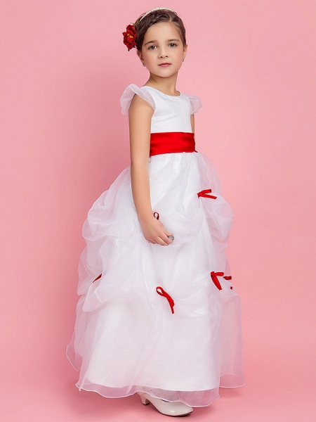 Princess / Ball Gown / A-Line Floor Length First Communion / Wedding Party Organza Short Sleeve Jewel Neck With Pick Up Skirt / Sash / Ribbon / Bow(S) / Spring / Fall / Winter_2