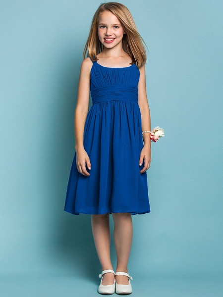Sheath / Column Straps Knee Length Chiffon Junior Bridesmaid Dress With Ruched / Draping / Spring / Summer / Fall / Apple / Hourglass_33