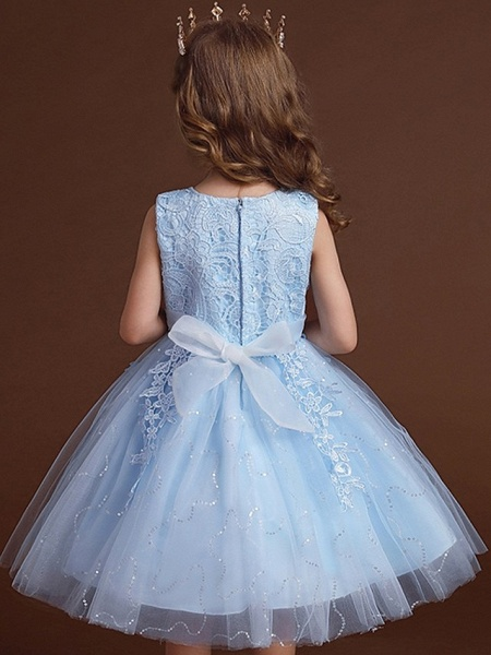 Princess / Ball Gown Knee Length Wedding / Party Flower Girl Dresses - Lace / Tulle Sleeveless Jewel Neck With Bow(S) / Appliques_6