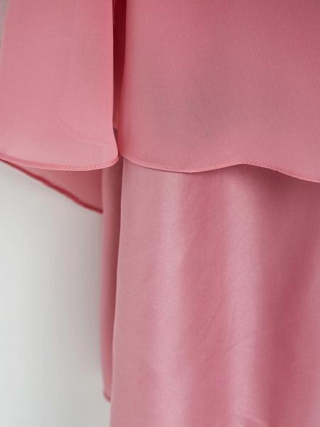 A-Line Boat Neck Maxi Chiffon Junior Bridesmaid Dress With Cascading Ruffles / Ruching_9