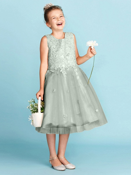 Princess / A-Line Jewel Neck Knee Length Lace / Tulle Junior Bridesmaid Dress With Bow(S) / Appliques / Wedding Party_34