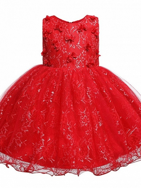 Princess / Ball Gown Knee Length Wedding / Party Flower Girl Dresses - Tulle Sleeveless Jewel Neck With Bow(S) / Appliques_2